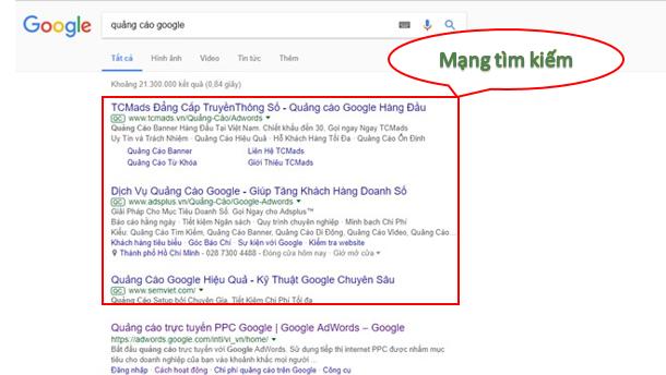 Quảng cáo Google Adwords mạng tìm kiếm