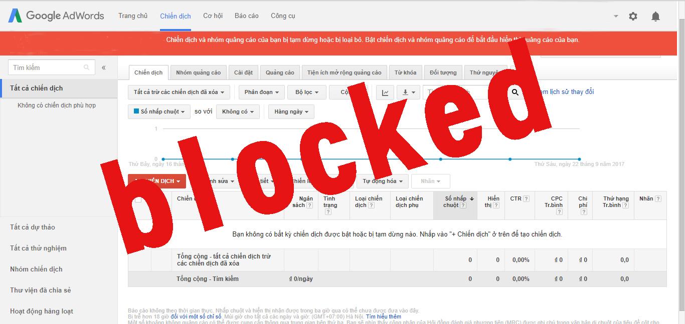 Tài Khoản Quảng Cáo Google Adwords Bị Gắn Thẻ Đỏ - Chuyện Gì Đang Xảy Ra?